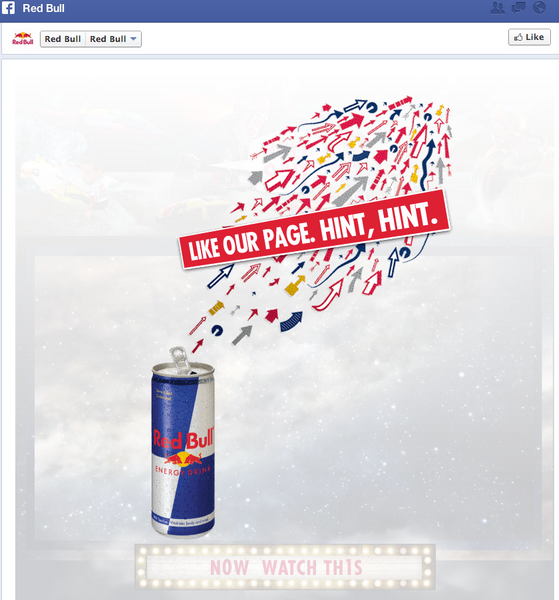 Example of Facebook like-gating page, from Red Bull.